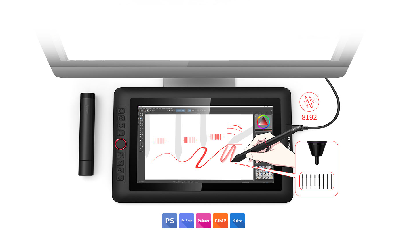 XP-Pen Artist 12 Pro  art drawing tablet Features fully-laminated Display