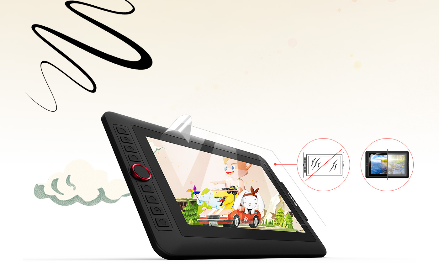 XP-Pen Artist 12 Pro display drawing tablet comes with a replaceable anti-glare optical film