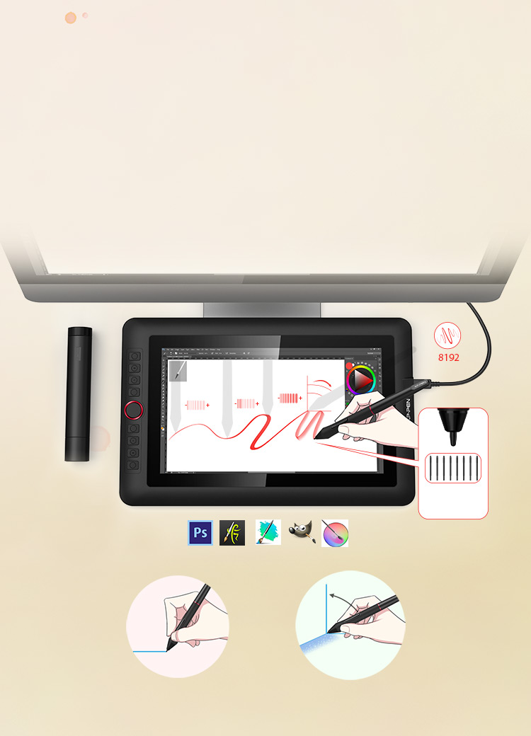 XP-Pen Artist 12 Pro portable drawing monitor supports up to 60 degrees of tilt function