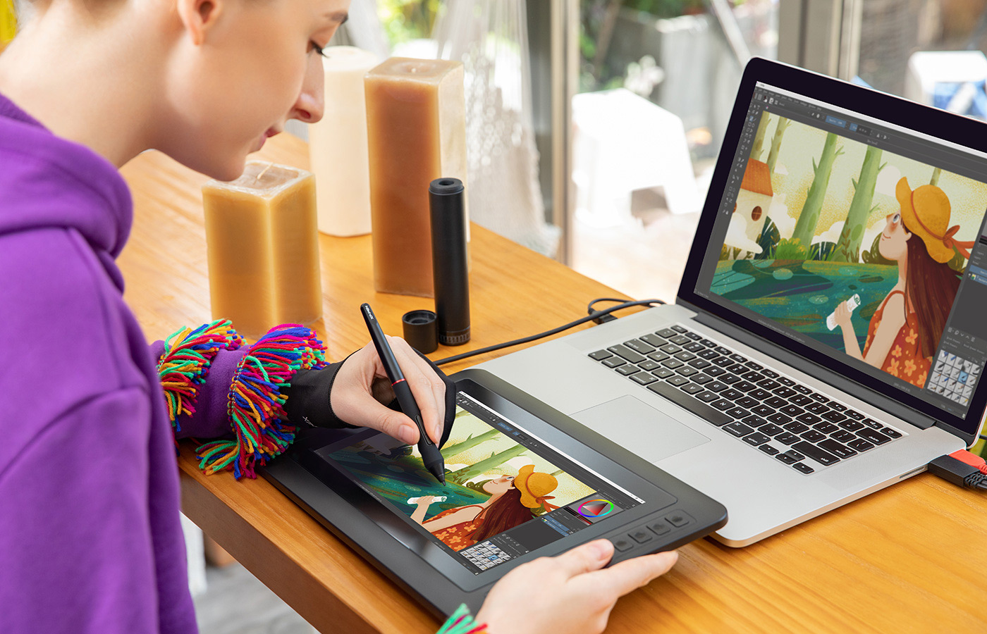 digital sketching  ,drawing ,animation ,painting and editing photos with XP-Pen Artist 12 Pro Screen graphics Tablet