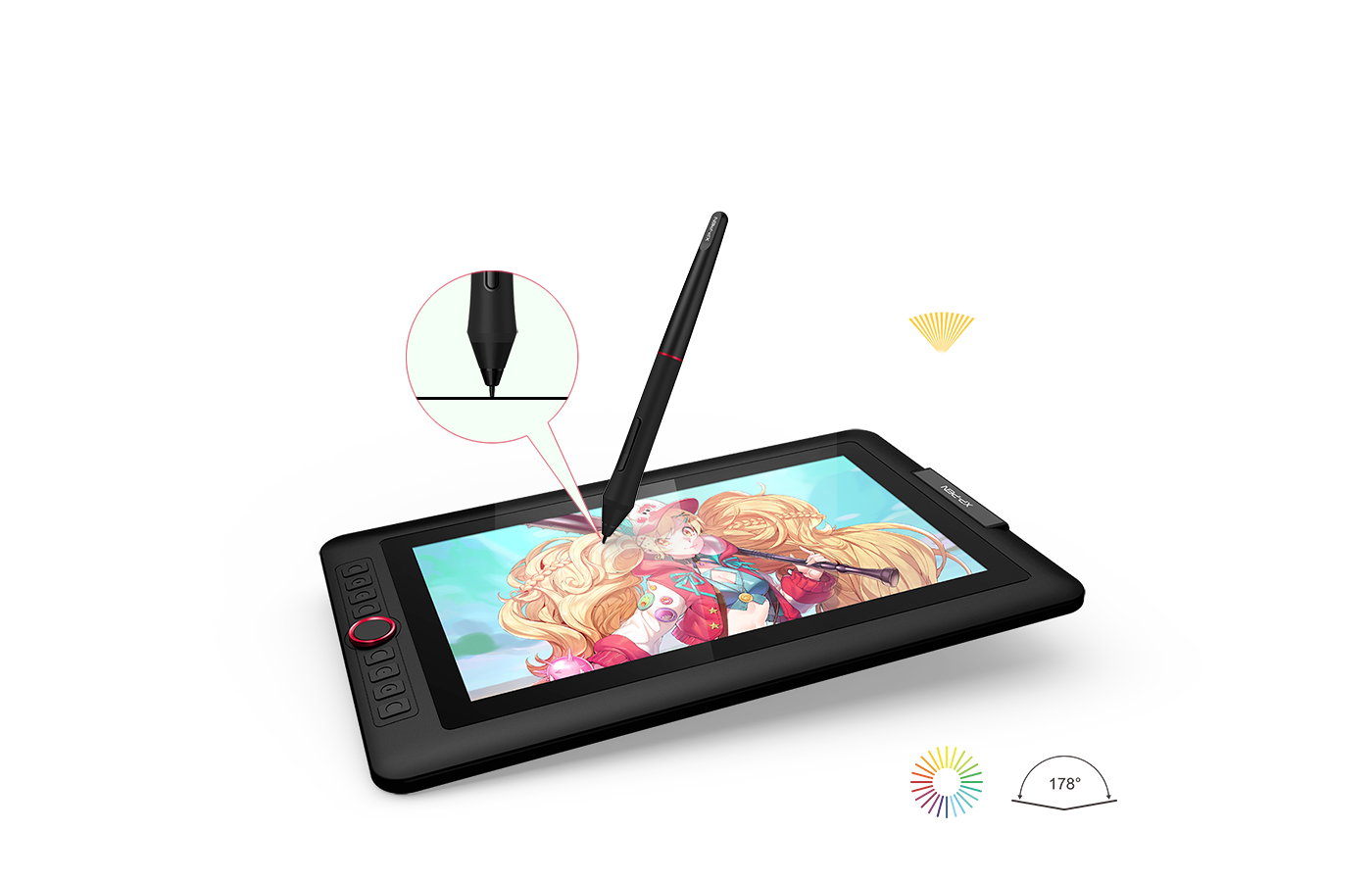 XP-Pen Artist 13.3 Pro art drawing tablet Features fully-laminated Display with 88% NTSC color gamut