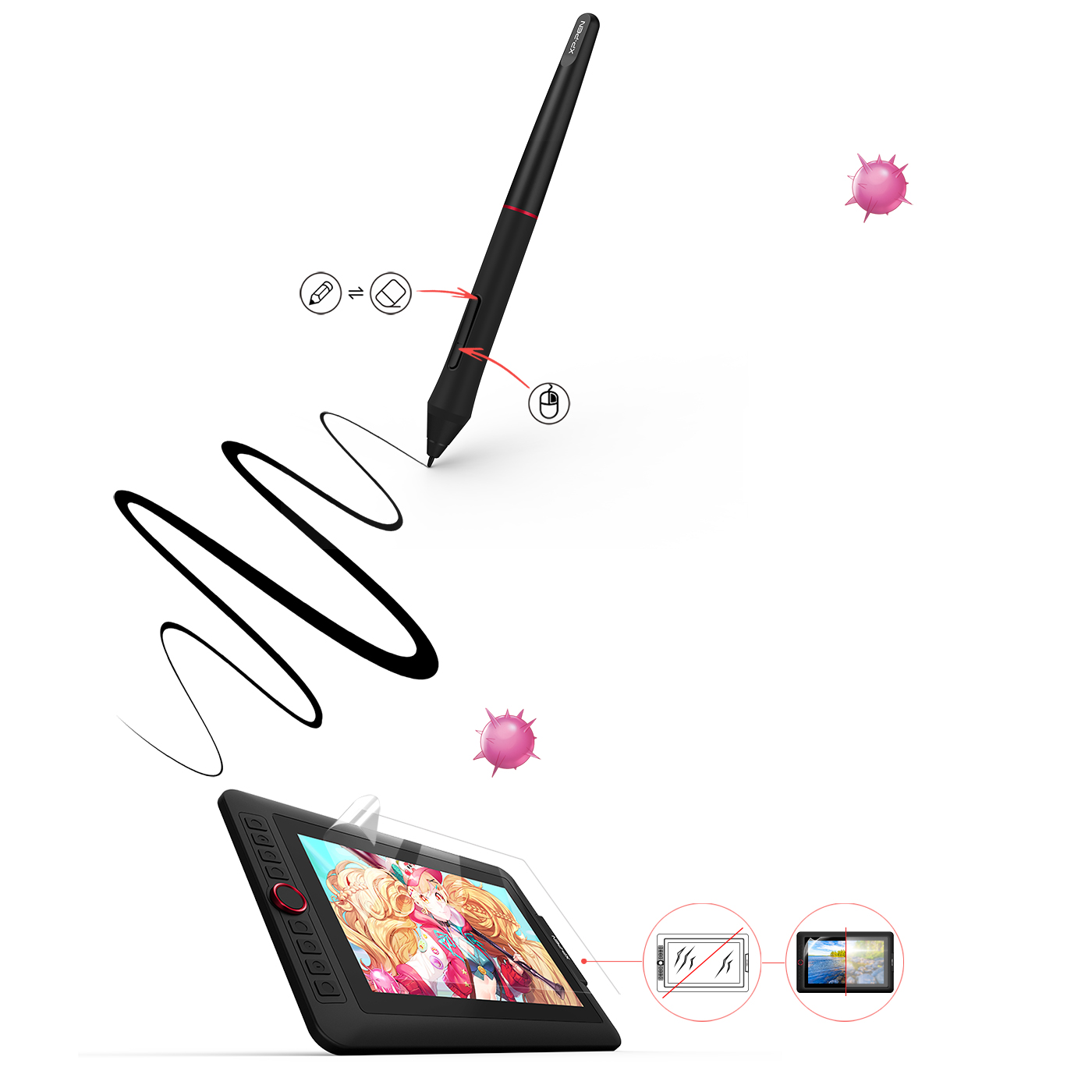 XP-Pen Artist 13.3 Pro computer drawing tablet With up to 8,192 levels of pressure sensitivity