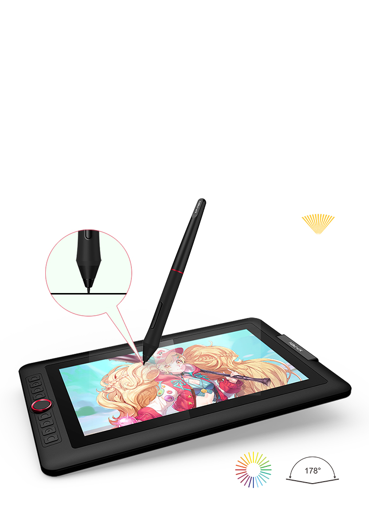 XPPen Artist13.3 Pro art drawing tablet Features fully-laminated Display with 88% NTSC color gamut