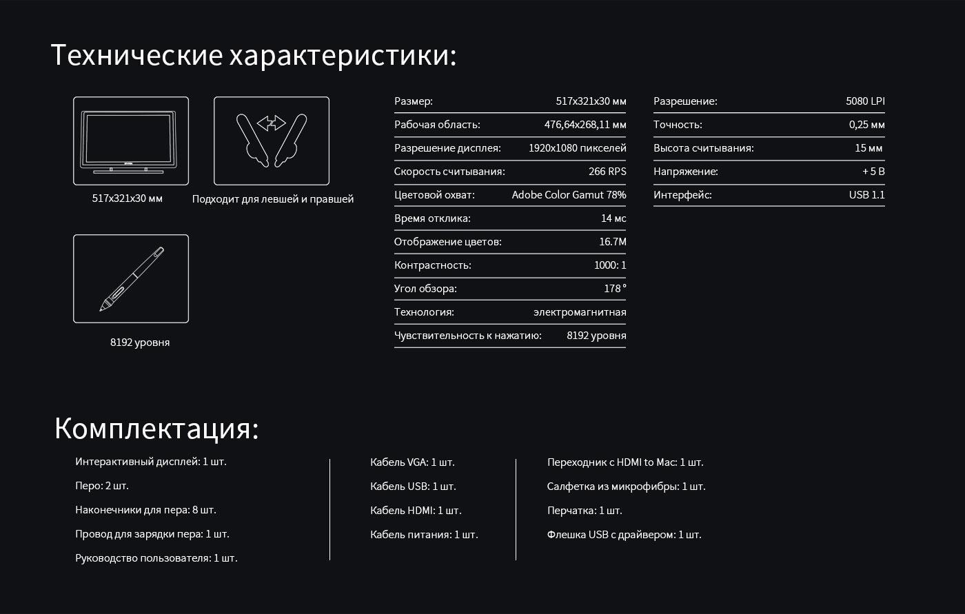 Specification of Screen Art Tablet Artist 22 Pro